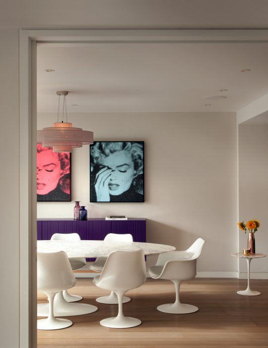 Curated art depicting Marilyn Monroe sit in a stylishly designed interior in Hampstead, London