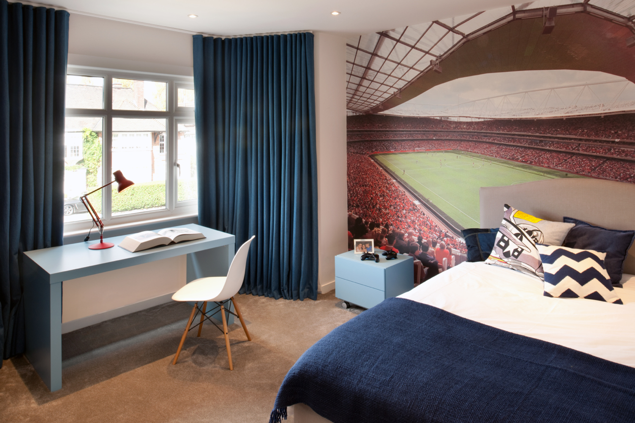 Football stadium wallpaper in a child's room in a luxury designed interior, Hampstead