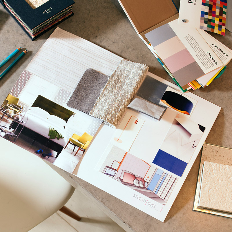 Material samples, colour swatches and sketches for a Studio Suss interior design project