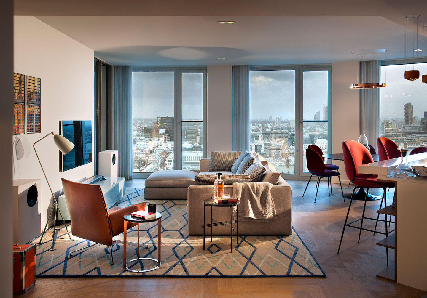 A beautifully designed open space in a luxury designed Southbank Tower interior overlooking Central London