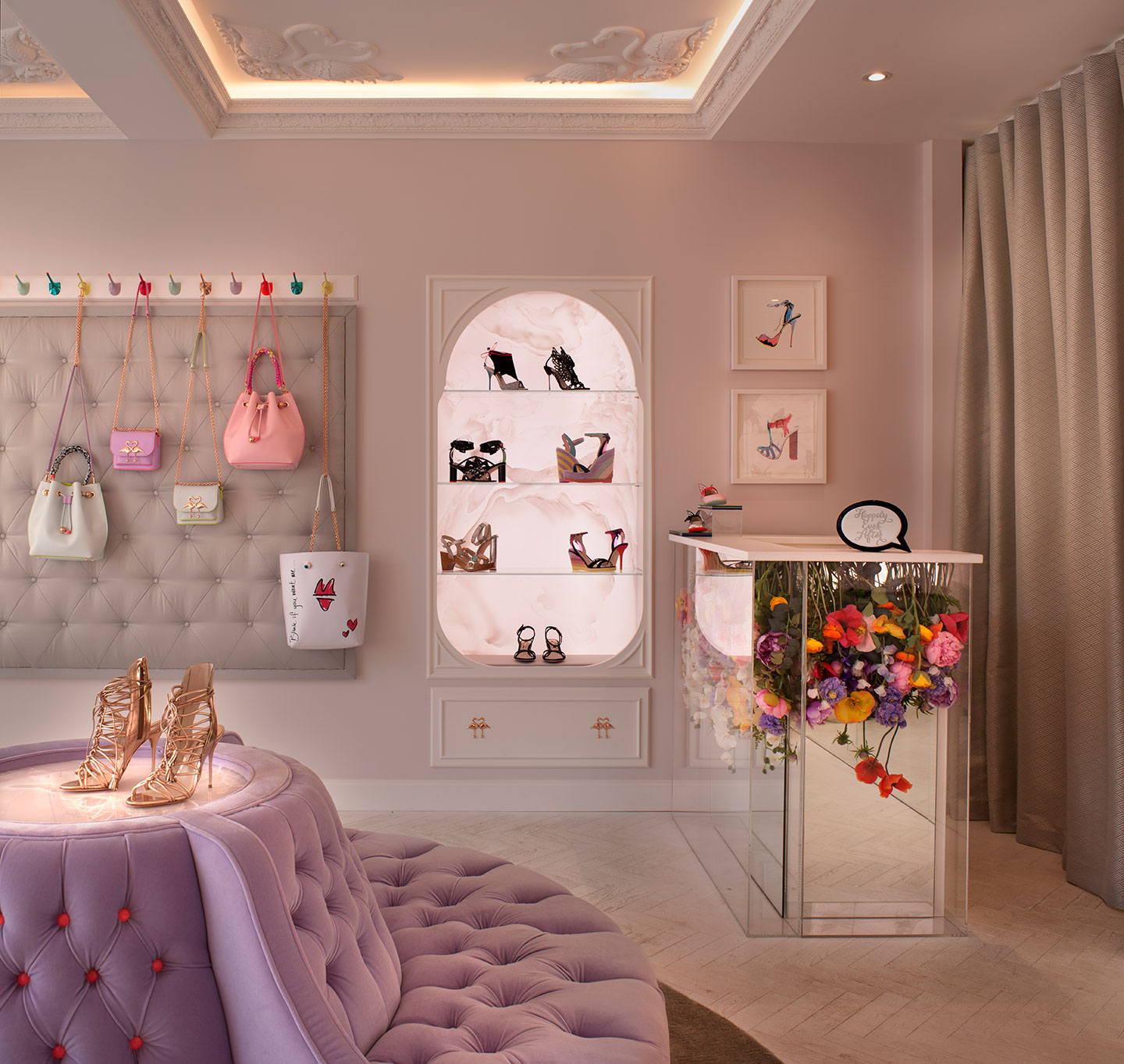 Sophia Webster shoes and handbags are on display in the designed interior of the flagship store in Mayfair
