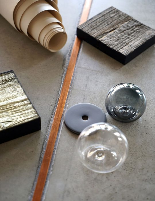 Materials and samples for an interior design project