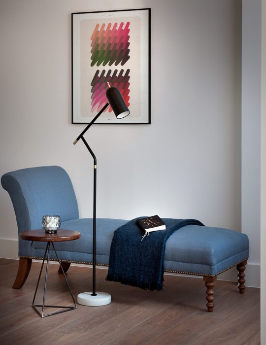 Soho Penthouse Interior Design by Studio Suss - Chaise Longue in a reading area.