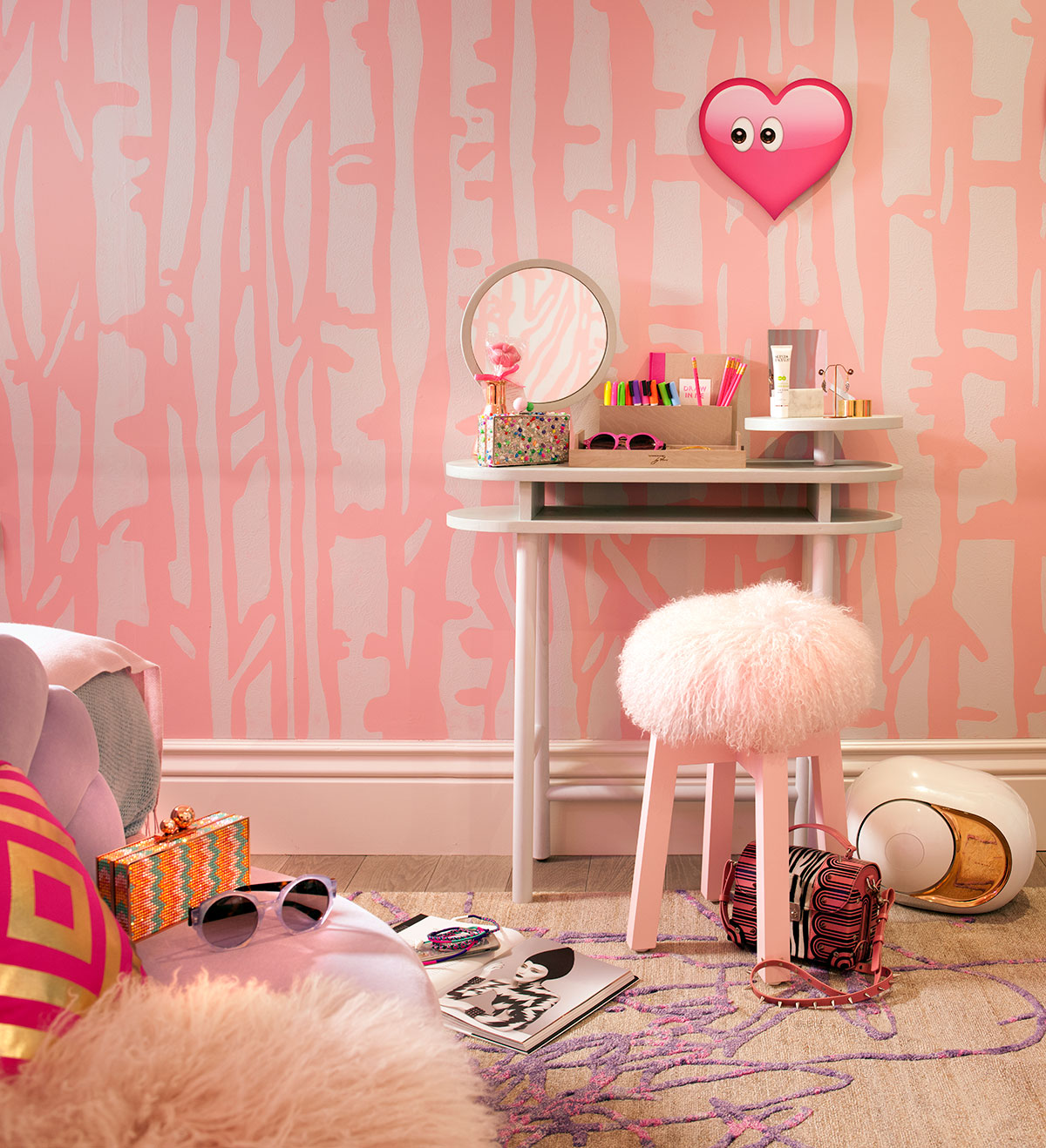 Details in the quirky interior design bedroom for holiday House, London