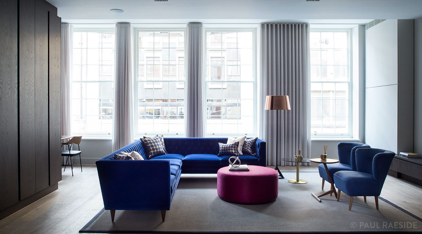 Beautiful light and airy interior design for a sitting room in a luxury Soho interior. Designed by Suss