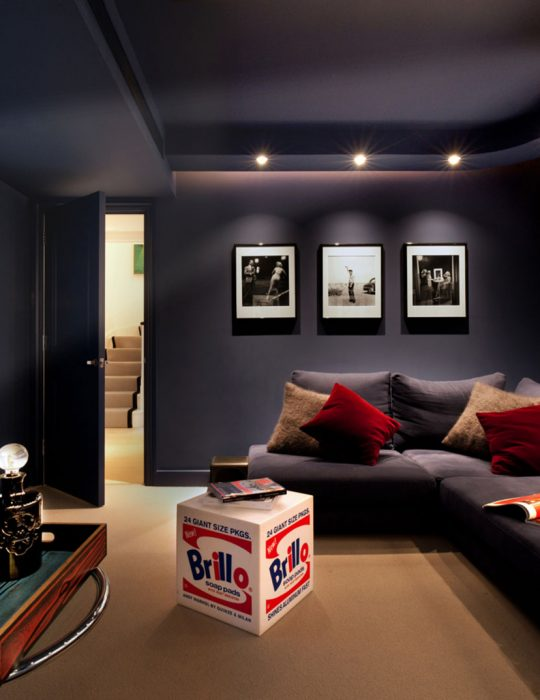 A stylish cinema room in an interior designed house, Hampstead.