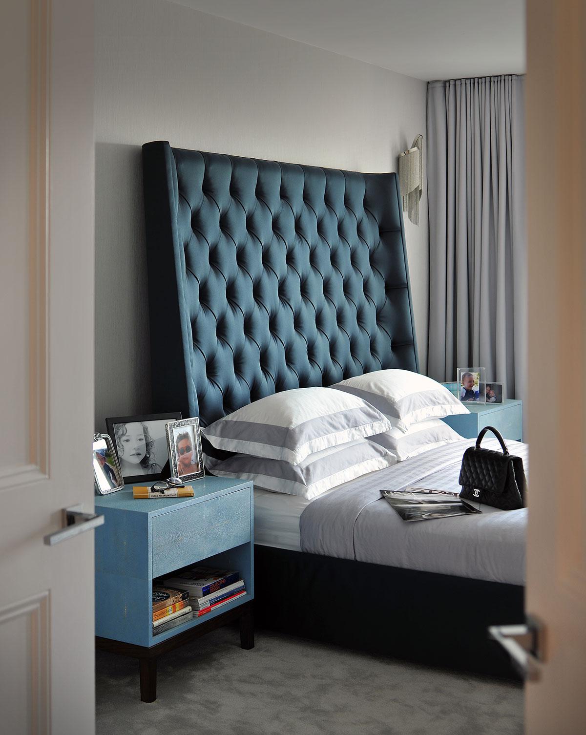 Master bedroom in a luxury designed interior, Hampstead