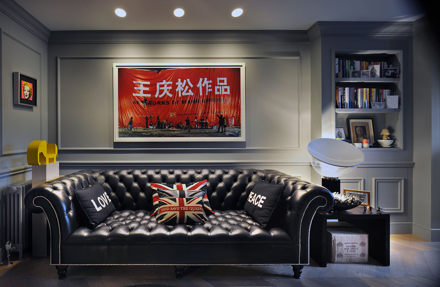 A leather sofa in a luxury designed interior